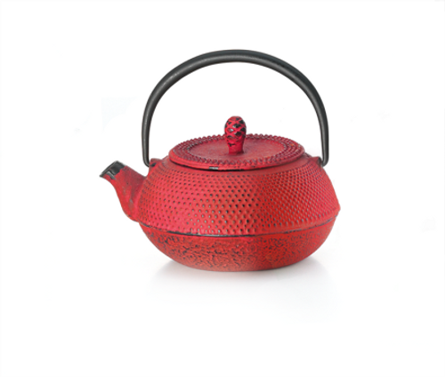 "Teapot ""Shihezi"" ironware, red, 1 cup  Made of high quality materials and crafted by artisans in traditional ways for centuries with beautiful textured patterns and enameled inside. Cast Iron teapots are to be used just as you would a porcelain teapot by boiling water and pouring into your cast iron teapot.  Although these are made of cast iron, they are not a tea kettle which is made to withstand the high heat of the stove top.    Red with relief, enameled inside,     To clean, rinse with warm water and hand dry.  Not dishwasher safe.  Not for stove top or microwave use."