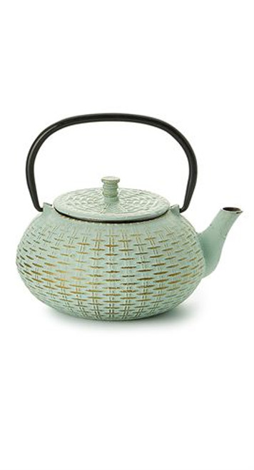 "Teapot ""Fuzhou"", Ironware, 3 cups / 27.1 fl.oz with stainless steel strainer   Made of high quality materials and crafted by artisans in traditional ways for centuries with beautiful textured patterns and enameled inside. Cast Iron teapots are to be used just as you would a porcelain teapot by boiling water and pouring into your cast iron teapot.  Although these are made of cast iron, they are not a tea kettle which is made to withstand the high heat of the stove top.    green with relief,  enameled inside,  stainless steel strainer  To clean, rinse with warm water and hand dry.  Not dishwasher safe.  Not for stove top or microwave use."