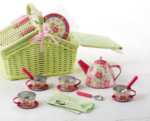 Toy Tin 18 Pc Tea Set in Basket - Sorrel: It's a tea party set for four! Comes in the sweetest lime green picnic baskets with a full tea party services for four. Perfect activity set, to keep them busy.  1-Teapot, 4-Cup and Saucer, 4-Serving plates, 4-Spoons in fabric pouch, 1-Storage Picnic basket. Ages 3 +  Matching Tea Party Apple Dumplings dolls and Children's Tea add ons available.