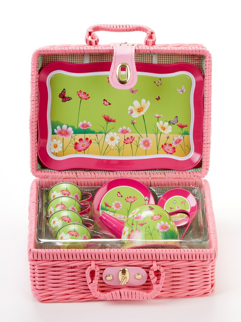 Toy Tin 15 Pc Tea Set in Basket - Daisies: It's a tea party set for four! Comes in the sweetest hot pink picnic baskets with a full tea party services for four. Perfect activity set, to keep them busy.  1-Teapot, 1-Service tray, 4-Cup and Saucer, 4-Serving plates, 4-spoona in fabric pouch 1-Storage Picnic basket. Ages 3 +  Matching Tea Party Apple Dumplings dolls and Children's Tea add ons available.