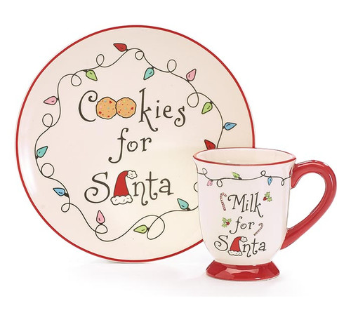 "Cookies and Milk for Santa - Gift Boxed Set:  For your little Christmas baking helper, matching apron set and cookie serving dish and milk mug for Santa. Watch their delight when they set out their home made cookies and fill the mug with milk in anticipation of his arrival Christmas Eve.  A tradtion they'll remember fondly. Dishwasher safe/FDA approved/Microwave safe.  Gift Set Includes:  1-Ceramic Santa plate, dishwasher safe/FDA approved/Microwave safe. 1-Santa Milk Mug, dishwasher safe/FDA approved/Microwave safe. 1- Adult Santa's Cookie Baker Apron Santa's Cookie Baker adult size apron. Apron is white with screen printed message, embroidered Christmas light design along top and bottom, and red pocket. Made of fabric with screen print message and embroidery. 32"" H x 27"" W. 1-Childs Santa's Cookie Tester Apron  1-Childs Chef Hat 2 -Childrens Oven Mitts   White screenprinted ""Santa's Cookie Tester"" childs apron set. Red hat has velcro for adjusting. Red mittens have white cuff and black buttons. Apron: 25""H X 18""W, Mittens: 8 1/2""H X 5""W; 8"" circumfrence, Chef's hat has adjustable circumfrence from 8 1/2"" to 10"""