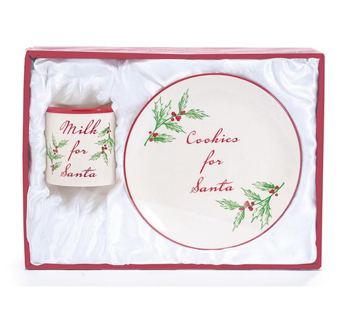 "Milk and Cookies for Santa- Gift Boxed: Milk and cookies for Santa gift set with holly accents and red gift box. Ceramic cookie plate and milk mug to leave out Christmas Eve for Santa's arrival. A tradition young ones will treasure throught the years. This classic Holly print with message"" Cookies for Santa"" on the 8"" diamiter plate, 10 oz mug.   Gift Set Includes:  1-Ceramic Santa plate, dishwasher safe/FDA approved/Microwave safe. 1-Santa Milk Mug, dishwasher safe/FDA approved/Microwave safe.  Comes in a satin lined red gift box"