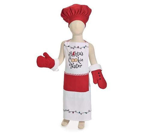 """Childs Santa's Cookie Tester Apron set: White screenprinted """"Santa's Cookie Tester"""" childs apron set. Red hat has velcro for adjusting. Red mittens have white cuff and black buttons.  1-Childs Santa's Cookie Tester Apron  1-Childs Chef Hat 2 -Childrens Oven Mitts Apron: 25""""H X 18""""W, Mittens: 8 1/2""""H X 5""""W; 8"""" circumfrence, Chef's hat has adjustable circumfrence from 8 1/2"""" to 10"""""""