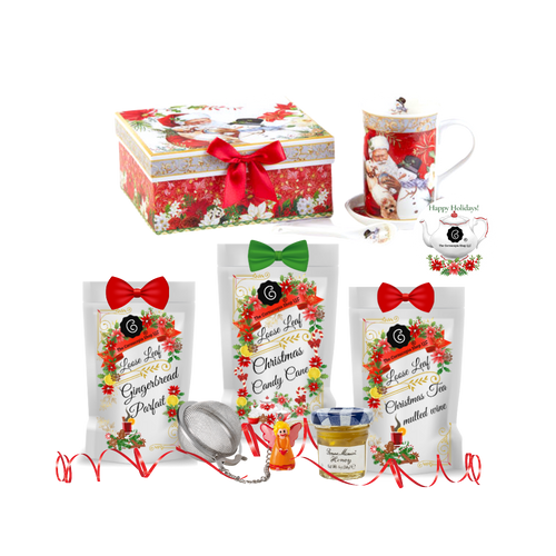 "Santa Boxed Mug Coaster Spoon Set - Snowman w/Christmas Tea- gift Set: will brighten anyone's holiday in its own matching print gift box with matching satin ribbon. A decorative tassel on the handle adds a lovely finishing touch. The matching coaster is perfect for any spot you leave your cup and the porcelian teaspoon makes tea time all the more special.  Three Christmas teas for an extra joyous gift this season.   Includes:  4.9""  Porcelain Mug in gift box Matching Coaster  Matching Porcelian Teaspoon  Christmas Santa and Snowman print  Dishwasher safe 3-1 oz. 12 cups Cornucopia Christmas Tea favorites, Gingerbread Parfait, Candy Cane, Christmas Mulled Wine  Candy Cane: We have captured the unmistakable taste of this well-loved candy in this unique tea blend, underlining it with an intense sweetness and rounding it off with a touch of peppermint. The bright red currants are a real eye-catcher and deliver a perfect performance.  Ingredients: apple pieces, pineapple cubes (pineapple, sugar), natural flavoring, marshmallows (glucose-fructose syrup, sugar, water, gelatin, corn starch, natural flavoring), whole star aniseed, freeze-dried whole red currants, peppermint, pink cornflower blossoms. Mulled Wine: This tea blend is a real taste explosion thanks to the exceptional flavor composition of the incredibly unique German version. What makes this blend so special: the traditional flamed cone sugar, which slowly melts into delicious caramel.  Pure exaltation!  Ingredients: apple pieces, hibiscus blossoms, elderberries, rose hip peel, Mistletoe, cinnamon rods, flavoring celery seed oil, orange slices, cloves. Gingerbread Parfait: Black tea Spicy, sweet gingerbread and fruity, lively mandarins are a must for anyone who loves the enticing scents of wintry spices and Christmas preparations. Ingredients: (43%), apple pieces, half-fermented tea (8%), flavoring, cinnamon pieces, freeze-dried yoghurt granules (skimmed milk yogurt, sugar, maltodextrin, modified starch, acidifying agent: citric acid), sliced almonds, mandarin sections, whole star aniseed, cardamom (whole), cinnamon rods, Contains almond and milk   1- Mini 1 oz. Bonne Maman Honey  1  Angel Tea ball, made in Germany by Cha Cult Cornucopia Teas come in resealable pouches with decorative tea labels, and includes a recipe and brewing guide. If purchasing as a gift, your personal message is included on the gift card"