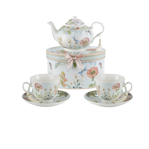 """Dragonfly Tea Set, will brighten anyone's day with this beautiful tea set in its own matching print gift box with matching satin ribbon. A decorative tassel on the handle adds a lovely finishing touch. Gifting Idea: birthday gift, bridal shower, get well, treat yourself or someone you love.  Includes:  9.5 x 5.6"""" teapot 2 cup/saucer Soft white background with a Dragonfly and floral print Dishwasher safe  Other Items Available:  Add additional sets of matching cup and saucer D8135-0  Tea choices available to add to your order in the loose-leaf shop  Teas and Teaware are shipped together, Cornucopia Teas come in resealable pouches with decorative tea labels, and includes a recipe and brewing guide. If purchasing as a gift your personal message is included on the pamphlet."""