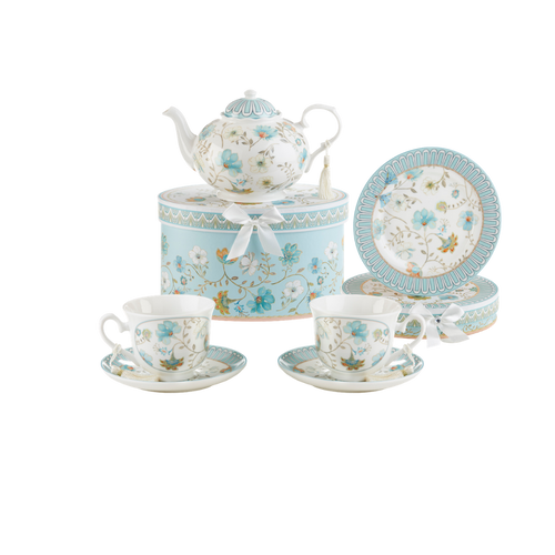 "Blue Romance 7 pc luncheon Tea Set, will brighten anyone's day with this beautiful luncheon set gift in its own matching print gift box with matching satin ribbon. A decorative tassel on the handle adds a lovely finishing touch. Gifting Idea: birthday gift, bridal shower, get well, treat yourself or someone you love.   Includes:  9.5 x 5.6"" Porcelain teapot in matching print box 2 cup/saucer in matching print box 2 luncheon plates in matching print box Dishwasher safe   Tea choices available to add to your order in the loose-leaf shop   Teas and Teaware are shipped together, Cornucopia Teas come in resealable pouches with decorative tea labels, and includes a recipe and brewing guide. If purchasing as a gift your personal message is included on the pamphlet."
