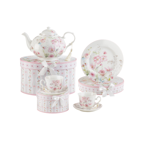 """Poppyseed 7 pc luncheon Tea Set, will brighten anyone's day with this beautiful luncheon set gift in its own matching print gift box with matching satin ribbon. A decorative tassel on the handle adds a lovely finishing touch. Gifting Idea: birthday gift, bridal shower, get well, treat yourself or someone you love.  Includes:  9.5 x 5.6"""" Porcelain teapot in matching print box 2 cup/saucer in matching print box 2 luncheon plates in matching print box Dishwasher safe  Tea choices available to add to your order in the loose-leaf shop  Teas and Teaware are shipped together, Cornucopia Teas come in resealable pouches with decorative tea labels, and includes a recipe and brewing guide. If purchasing as a gift your personal message is included on the pamphlet."""
