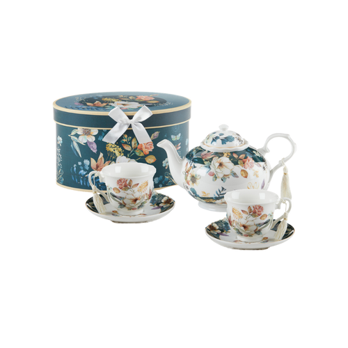 """English Camellia Tea Set, will brighten anyone's day with this beautiful tea set gift in its own navy and teal flower print gift box with matching satin ribbon. A decorative tassel on the handle adds a lovely finishing touch. Gifting Idea: birthday gift, bridal shower, get well, treat yourself or someone you love.  Includes:  9.5 x 5.6"""" Porcelain teapot, hold 4 cups (32 oz) 2 cup/saucer Soft white background with navy and teal floral print Dishwasher safe  Tea choices available to add to your order in the loose-leaf shop  Teas and Teaware are shipped together, Cornucopia Teas come in resealable pouches with decorative tea labels, and includes a recipe and brewing guide. If purchasing as a gift your personal message is included on the pamphlet."""