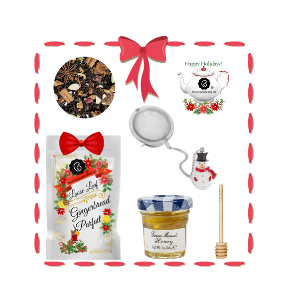 Santa's Tea Shop - Gingerbread Parfait Gift Basket: Special Buy Free Shipping  This gift basket comes ready to use with a snowman tea ball, mini honey and honey spool. A wonderful time to experience Cornucopia's organic, loose leaf teas. This gift enclosure card includes a 10% off coupon for your recipient to uese towards their first purchase of tea.  Includes:  1-1 oz. 12 cups Gingerbread Parfait, a Cornucopia Christmas Kitchen Tea favorite :Black tea Spicy, sweet gingerbread and fruity, lively mandarins are a must for anyone who loves the enticing scents of wintry spices and Christmas preparations. Ingredients: (43%), apple pieces, half-fermented tea (8%), flavoring, cinnamon pieces, freeze-dried yoghurt granules (skimmed milk yogurt, sugar, maltodextrin, modified starch, acidifying agent: citric acid), sliced almonds, mandarin sections, whole star aniseed, cardamom (whole), cinnamon rods, Contains almond and milk 1- Mini 1 oz. Bonne Maman Honey 1 Honey spool 1 Snowman Tea ball, made in Germany by Cha Cult  Cornucopia Teas are of the highest quality and sourced from plantations around the world. Our teas come in resealable pouches with decorative tea labels and includes a recipe and brewing guide. Your personal message is included on the pamphlet as your enclosure card. Gift comes shrink wrapped in reusable tray and decorative bow.