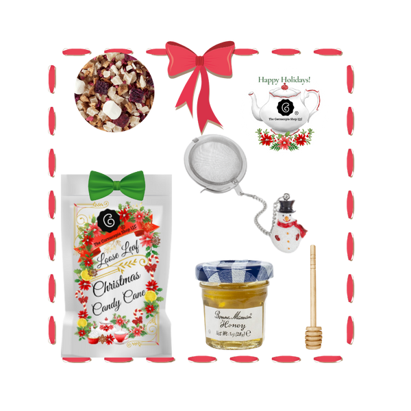 Santa's Tea Shop - Candy Cane Gift Basket: Special Buy Free Shipping  This gift basket comes ready to use with a snowman tea ball, mini honey and honey spool. A wonderful time to experience Cornucopia's organic, loose leaf teas.  This gift enclosure card includes a 10% off coupon for your recipient to uese towards their first purchase of tea.   Includes:  1-1 oz. 12 cups Candy Cane, a Cornucopia Christmas Kitchen Tea favorite : We have captured the unmistakable taste of this well-loved candy in this unique tea blend, underlining it with an intense sweetness and rounding it off with a touch of peppermint. The bright red currants are a real eye-catcher and deliver a perfect performance.  Ingredients: apple pieces, pineapple cubes (pineapple, sugar), natural flavoring, marshmallows (glucose-fructose syrup, sugar, water, gelatin, corn starch, natural flavoring), whole star aniseed, freeze-dried whole red currants, peppermint, pink cornflower blossoms. 1- Mini 1 oz. Bonne Maman Honey  1 Honey spool  1 Angel Tea ball, made in Germany by Cha Cult  Cornucopia Teas are of the highest quality and sourced from plantations around the world.  Our teas come in resealable pouches with decorative tea labels and includes a recipe and brewing guide.  Your personal message is included on the pamphlet as your enclosure card.  Gift comes shrink wrapped in reusable tray and decorative bow.