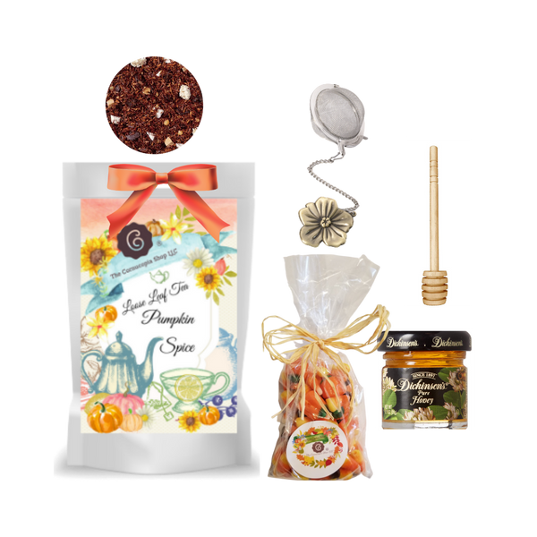 "Harvest Tea Gift Basket-Pumpkin Spice Rooibos   Limited Edition by The Cornucopia's Tea Shop. Seasonal Label is a fun way to enjoy a fall tea favorite, with everything needed to make a loose leaf brew.  A sip of tea and a nibble of candy just what the day ordered!   Gift includes:  1 oz. Pumpkin Spice Tea ( Loose Leaf ) Ingredients: Rooibos tea, cinnamon pieces, cardamom (whole), flavoring, freeze-dried pumpkin pieces, coriander, cardamom seeds, cloves. 1- 2"" Tea Ball with fall flower charm, stainless steel Dickinson's Mini Honey 1 oz.  Honey Spool wooden 7 oz Autumn Pumpkin mix Candy Corn with chocolate candy corn, original candy corn and pumpkins, gift pack with natural rafia hand tied bow.   Gift comes in a shrink wrapped tray with natural raffia hand tied bow and gift card with brewing guide, 10% off next tea purchase, and your personalized gift message."