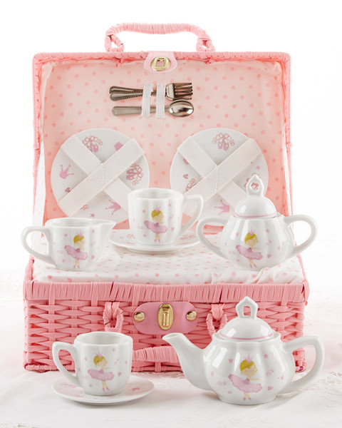 Toy Porcelain Tea Set in Basket- Pink Bella: It's a tea party set for two! Pink ballerina print on white background print tea set in a pink picnic basket with matching check cloth liner. Perfect activity set for any little girl. By Delton ages 5+  1-Teapot, 2-Cup and Saucer, 2-Serving plates, 2 each, Spoon and Fork, 1-Storage Picnic basket.  This set is part of the Cornucopia's Toy Tea party set and comes with additional add ons:  Perfect tea party companion doll by Apple Dumplin Dolls 1 oz (12 tea parties or more) Children's Tea available There is hardly another fruit on this planet which is as popular among young and old as the strawberry. We are, therefore, presenting our particular, decaffeinated, flavored green tea variation. Its mild and, at the same time, intense taste is due to a natural strawberry flavoring, which shines when interacting with the soft tea basis. Ingredients: decaffeinated green tea, freeze-dried strawberry pieces, natural flavoring type strawberry. All choices are shipped together in one box. Gift card enclosure