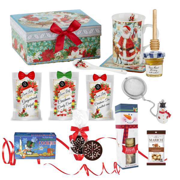 "Santa 's Woodland gift Mug Set with Tea n Treats: A porcelain mug set to bring holiday cheer in its own matching print gift box with matching satin ribbon. The matching coaster is perfect for any spot you leave your cup and the porcelian teaspoon makes tea time all the more special.  Three Christmas teas for an extra joyous gift this season.   Includes:  4.9""  Porcelain Mug in gift box- Woodland  Matching Coaster  Matching Porcelain Teaspoon  Christmas Santa and Friends woodland print  Dishwasher safe 3-1 oz. 12 cups Cornucopia Christmas Tea favorites, Gingerbread Parfait, Candy Cane, Christmas Mulled Wine  Candy Cane: We have captured the unmistakable taste of this well-loved candy in this unique tea blend, underlining it with an intense sweetness and rounding it off with a touch of peppermint. The bright red currants are a real eye-catcher and deliver a perfect performance.  Ingredients: apple pieces, pineapple cubes (pineapple, sugar), natural flavoring, marshmallows (glucose-fructose syrup, sugar, water, gelatin, corn starch, natural flavoring), whole star aniseed, freeze-dried whole red currants, peppermint, pink cornflower blossoms. Mulled Wine: This tea blend is a real taste explosion thanks to the exceptional flavor composition of the incredibly unique German version. What makes this blend so special: the traditional flamed cone sugar, which slowly melts into delicious caramel.  Pure exaltation!  Ingredients: apple pieces, hibiscus blossoms, elderberries, rose hip peel, Mistletoe, cinnamon rods, flavoring celery seed oil, orange slices, cloves. Gingerbread Parfait: Black tea Spicy, sweet gingerbread and fruity, lively mandarins are a must for anyone who loves the enticing scents of wintry spices and Christmas preparations. Ingredients: (43%), apple pieces, half-fermented tea (8%), flavoring, cinnamon pieces, freeze-dried yoghurt granules (skimmed milk yogurt, sugar, maltodextrin, modified starch, acidifying agent: citric acid), sliced almonds, mandarin sections, whole star aniseed, cardamom (whole), cinnamon rods, Contains almond and milk   1- Mini 1 oz. Bonne Maman Honey  1  Snowman Tea ball, made in Germany by Cha Cult 1 Honey Spool, wood 1-1.5 oz Too Good Gourmet Sugar Cookies 1-1.75 oz Dark Chocolate Peppermint Snowflake  1-2 oz Night Before Christmas Mini Chocolate Chip Cookies  1-1.4 oz Marich, Dark and White Chocolate Gingerbread Bites Cornucopia Teas come in resealable pouches with decorative tea labels, and includes a recipe and brewing guide. If purchasing as a gift, your personal message is included on the pamphlet."