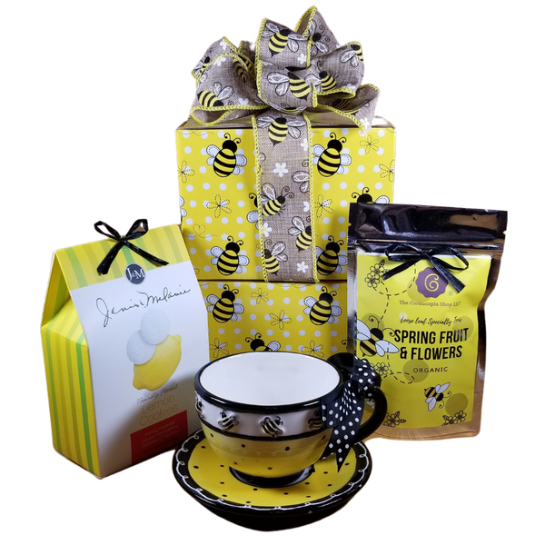 Dishwasher safe/FDA approved/Microwave safe.  Hand-painted ceramic Bee Days teacup and saucer.  Holds 8 oz. Individually gift boxed.