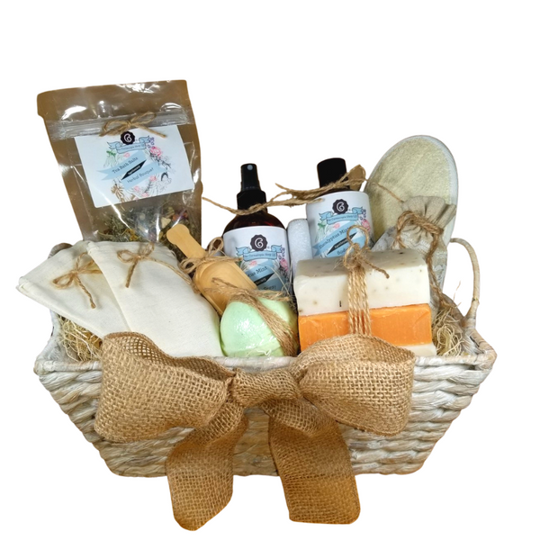"""Eucalyptus Splendor – Luxury Spa Gift Basket by The Cornucopia Shop LLC: Our Bath Soaks are made of the highest quality ingredients of botanicals, Teas, Essential Oils, Dead Sea Bath Salts, Epsom Bath Salts, & Pink Himalayan Salts. Aromatherapy to lift and rejuvenate the mind. Our line includes Hand Crafted Cold Process Soaps, Body Lotions and Perfume Body Sprays, and Luxury Bath Bombs to sooth, soften and re-fresh. Dried Botanical Lingerie Sachet to scent a drawer.   Includes:  1- 4 oz Herbal Bath Salts all-natural no dyes, 1- 8 oz Eucalyptus Mint Body Lotion 1- 8 oz Eucalyptus Mint Body Spray 1-.05 oz Super Lavender Drawer Sachet 2- Linen Bath Tea Bags(re-usable) hand wash 1- Wooden Bath Salt Scoop 1- Loofah & Terry Cloth reversible Wash Pad with Wrist Band 5 oz 2 1/2 """", Breath Easy Eucalyptus Bath Bomb 3 Cold Process Bar Soaps, Eucalyptus Aloe Apricot Chamomile Bamboo Mud  Gift comes shrink wrapped in reusable whitewashed natural fiber basket with handles, natural fiber fill, decorative gift bow, and enclosure gift card.  Key Ingredients:Bath Salt: Organic herbal bath mix, Epsom Salts Body lotion: Water, Blend of (Coconut Oil, Hempseed Oil, Sunflower Oil, Vitamin E, Mineral Oil), Propylene Glycol, Stearic Acid, Cetyl Alcohol, Phenoxyethanol, Ethylhexylglycerin, Glyceryl Stearate, Petrolatum, TEA 99%, Proprietary Fragrance and Essential Oil Blend, Dimethicone, Carbopol, Disodium EDTA, Allantoin, Aloe Vera Gel. Perfume Body Spray:Water, Ploysorbate 20, Fragrance,,DMDM Hydntoin, Disodium EDTA Cold Process Soaps:Olive Oil, Soybean Oil, Coconut Oil, Corn Oil. Sunflower Oil, Organic Shea Butter, Water. Sodium Hydroxide (Lye), Fragrance INCI: Olea Europaea (Olive) Oil, Glycine Soja (Soybean) Oil, Cocos Nucifera (Coconut) Oil, Zea Mays (Corn) Oil, Helianthus Annuus (Sunflower) Seed Oil, Butyrospermum Parkii (Shea Butter), Aqua, Sodium Hydroxide, Fragrance. May contain charcoal, FD&C color. Please note, that due to the handmade nature of this soap, color shades and swirl """