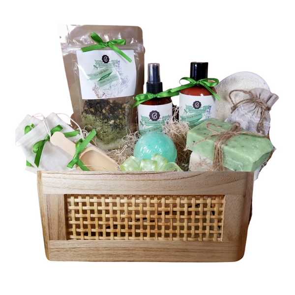 """Green Tea & Citrus Bahama Spa - Gift Basket , by The Cornucopia Shop LLC: Our Bath Soaks are made of the highest quality ingredients of botanicals, Teas, Essential Oils, Dead Sea Bath Salts, Epsom Bath Salts, & Pink Himalayan Salts. Aromatherapy to lift and rejuvenate the mind. Our line includes Hand Crafted Cold Press Soaps, Body Lotions and Perfume Body Sprays, and Luxury Bath Bombs to sooth, soften and re-fresh. Dried Botanical Lingerie Sachet to scent a drawer.   Includes: Botanical Bath Soak, Body lotion, Body Spray, Bath Salt Scoop, Lavender Drawer Sachet, reusable Linen Tub Tea Bags, (keeps your tub clean of botanicals and teas for easy clean up) Bath Bomb, a Loofah & Terry Bath Pad and 3 complimentary scented Cold Press Soaps, Green Tea & Citrus body lotion and perfume spray.  Includes: Tony Bahama Basket with rope handles  1- 4 oz Green Tea & Citrus Bath Salts all-natural no dyes, Includes Matcha Green Tea Powder 1- 8 oz Green Tea & Citrus Body Lotion 1- 8 oz Green Tea & Citrus Body Spray 1-.05 oz Super Lavender Drawer Sachet 2- Linen Bath Tea Bags(re-usable) hand wash 1- Wooden Bath Salt Scoop 1- Loofah & Terry Cloth reversible Wash Pad with Wrist Band 5 oz 2 1/2 """", Spa Tonic Bath Bomb 3 Cold Press Bar Soaps, Wakame Scrub ( Very strong and clean scent. Sage and other mild greens. Contains sea salt, peppermint leaves, and ground oatmeal as exfoliants) White Tea & Ginger Green Tea Verbena  Gift comes shrink wrapped in reusableTony Bahama Basket with rope handles, paper shred fill, decorative gift bow, and enclosure gift card.  Key Ingredients:Bath Salt: Organic Green Tea leaves, Epsom Salts, Green Tea Essentail Oil. Matcha, Chamomile Blossoms- Super Organic, Organic Lemon Peel, Jasmine Flower - Super Organic. Body lotion: Water, Blend of (Coconut Oil, Hempseed Oil, Sunflower Oil, Vitamin E, Mineral Oil), Propylene Glycol, Stearic Acid, Cetyl Alcohol, Phenoxyethanol, Ethylhexylglycerin, Glyceryl Stearate, Petrolatum, TEA 99%, Proprietary Fragrance and Essenti"""