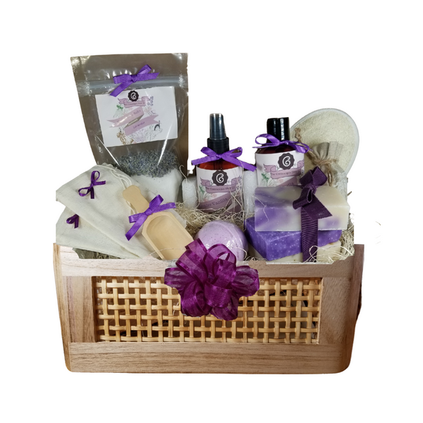 """French Lavender Bahama Spa - Gift Basket, by The Cornucopia Shop LLC: Our Bath Soaks are made of the highest quality ingredients of botanicals, Teas, Essential Oils, Dead Sea Bath Salts, Epsom Bath Salts, & Pink Himalayan Salts. Aromatherapy to lift and rejuvenate the mind. Our line includes Hand Crafted Cold Press Soaps, Body Lotions and Perfume Body Sprays, and Luxury Bath Bombs to sooth, soften and re-fresh. Dried Botanical Lingerie Sachet to scent a drawer.   include: Botanical Bath Soak, Body lotion, Body Spray, Bath Salt Scoop, Lavender Drawer Sachet, reusable Linen Tub Tea Bags, (keeps your tub clean of botanicals and teas for easy clean up) Bath Bomb, a Loofah & Terry Bath Pad and 3 complimentary scented Cold Press Soaps, Lavender Vanilla body lotion and perfume spray.  Includes:  Tommy Bahama basket with rope handles 1- 4 oz Lavender Bath Salts all-natural no dyesSuper Lavender origin France 1- 8 oz Lavender Vanilla Body Lotion 1- 8 oz. Lavender Vanilla Body Spray 1-.05 oz Super Lavender Drawer Sachet 2- Linen Bath Tea Bags(re-usable) hand wash 1- Wooden Bath Salt Scoop 1- Loofah & Terry Cloth reversible Wash Pad with Wrist Band 5 oz 2 1/2 """", Lavender Petals Bath Bomb 3 Cold Press Bar Soaps, 1 Oak Moss Lavender Scrub, Ylang Ylang & Lavender Lavender Lemongrass  Gift comes shrink wrapped in reusable Tommy Bahama basket with rope handles, natural fiber fill, decorative gift bow, and enclosure gift card.  Key Ingredients:Bath Salt: Organic Lavender- Super French, Epsom Salts, Lavendar Essential Oil.Body lotion:Water, Blend of (Coconut Oil, Hempseed Oil, Sunflower Oil, Vitamin E, Mineral Oil), Propylene Glycol, Stearic Acid, Cetyl Alcohol, Phenoxyethanol, Ethylhexylglycerin, Glyceryl Stearate, Petrolatum, TEA 99%, Proprietary Fragrance and Essential Oil Blend, Dimethicone, Carbopol, Disodium EDTA, Allantoin, Aloe Vera Gel.Perfume Body Spray:Water, Ploysorbate 20, Fragrance,,DMDM Hydntoin, Disodium EDTACold Press Soaps:Olive Oil, Soybean Oil, Coconut Oil, Corn O"""