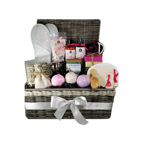 """Spa Chest of Bliss - Gift Chest, by The Cornucopia Shop LLC: Our Bath Soaks are made of the highest quality ingredients of botanicals, Teas, Essential Oils, Dead Sea Bath Salts, Epsom Bath Salts, & Pink Himalayan Salts. Aromatherapy to lift and rejuvenate the mind. Our line includes Hand Crafted Cold Process Soaps, Body Lotions and Perfume Body Sprays, and Luxury Bath Bombs to sooth, soften and re-fresh. Dried Botanical Lingerie Sachet to scent a drawer.   Includes:  Gray Resin Woven Chest with hand wholes 1- 4 oz Rose Bath Salts all-natural no dyes Super Rose origin Egypt 1- 8 oz Rose Milk & Honey Body Lotion 1- 8 oz Rose Milk & Honey Body Spray 1-.05 oz Super Lavender Drawer Sachet 2- Linen Bath Tea Bags(re-usable) hand wash 1- Wooden Bath Salt Scoop 1- Loofah & Terry Cloth reversible Wash Pad with Wrist Band 5 oz 2 1/2 """", Sugar Rose Bath Bomb 5 oz 2 /1/2"""", Vanilla Caramel Bath Bomb 5 oz 2 1/2 """", Lavendar Petal Bath Bomb 3 Cold Process Bar Soaps, English Garden Rocky Rose Moonlight & Roses Scrub Shampoo Bar with Neem, Ayurvedic formula by Auromere (Vata-Pitta-Kapha) Large Tub Teaball, stainless steel by Chai Cult, Germany. This Large Tub Teaball allows you to enjoy dried flowers and herbs without the mess in the tub White Spa Terry Slippers, one size fits all 3 Herb Smudge Stick, Cedar, White & Blue Sage Round Loofah Puff, May vary on color  Gift comes shrink wrapped in reusable resin basket chest with hand holes, black paper shred fill, decorative gift bow, and enclosure gift card.  Key Ingredients:Bath Salt: Super Egyptian Rose Buds and petals, Epsom Salts, Rose Flower Essentail Oil.Body lotion: Water, Blend of (Coconut Oil, Hempseed Oil, Sunflower Oil, Vitamin E, Mineral Oil), Propylene Glycol, Stearic Acid, Cetyl Alcohol, Phenoxyethanol, Ethylhexylglycerin, Glyceryl Stearate, Petrolatum, TEA 99%, Proprietary Fragrance and Essential Oil Blend, Dimethicone, Carbopol, Disodium EDTA, Allantoin, Aloe Vera Gel.Perfume Body Spray: Water, Ploysorbate 20, Fragrance,,DM"""
