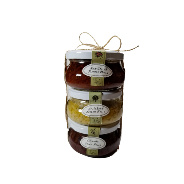 """Bella Pesto Trio Gift Pack: by Bella Cucina: Not your typical grocer shelf pesto. This collection can be used in many recipes and ways you would never expect! Chunky, flavorful as traditional pasta sauce. (Oprah's """"favorite things"""" show and """"O"""" list magazine pick!) A gourmet cooks pantry must!  3-6 oz jar Bella Cucina Gourmet Pesto, Made in United States of America  Olivada Olive Pesto is pure kalamata olive with a hint of lemon. Serve as a condiment with grilled swordfish with a salad of lightly dressed arugula. Artichoke Lemon, their most popular pesto (Oprah's """"favorite things"""" show and """"O"""" list magazine pick!) combines artichoke hearts at their peak and the richness of olive oil + Parmesan cheese. Use in a charcuterie board to serve with crackers, meat & cheese Sundried Tomato, Vine ripened California sun-dried tomatoes distinguish this rich, robust pesto. Toss with your favorite pasta, use on bruschetta crisps, create a gourmet flatbread pizza with chunks of mozzarella cheese and fresh basil."""