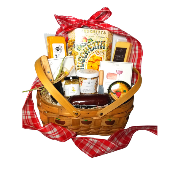 """Gracious Bounty Apple Gift Basket:  From Cornucopia's Epicure Shop, a showcase of gourmet specialties and gifts ideal for a grand impression appropriate for any occasion. An array of shelf-stable, cheeses, Summer Sausage, Gourmet Crackers, Mixed Nuts, (by Jocelyn & Co) & (The Cornucopia Shop) also featuring the finest Bella Cucina's Lemon spread, a delicate light lemon spread, and Rendezvous Tin of assorted fruit flavored hard candy. Simply gourmet, simply delicious gift.   Gift giving ideas. get well, a teacher appreciation, new home, epicurean foodie or for any other reason.  Includes:  5"""" Wood Slat Apple print basket with drop handles Mini Cheese Spreader, Stainless Steel Cleaver, *2 oz Gourmet Amber Beer Mustard, *5 oz Hardwood Smoked Summer Sausage, *8 oz Cheddar Cheese bar 7"""" tall x ¾ """"thick, *8 oz Jalapeno Monterey Jack Cheese bar 7"""" tall x ¾ """"thick, 75 oz Mixed Nuts, delightful mix of crunch, *3.75 oz Cabernet Sauvignon Cheddar Cheese Spread, a creamy spreadable cheese made with real cabernet sauvignon wine, and cheddar cheese. Size: 4Hx4Wx1D, *3.75 oz Camembert Cheese Spread, white cheddar and camembert cheese spread, Size: 4Hx4Wx1D, 5 oz Rendezvous Tin of assorted fruit hard candy drops 3 oz Bruschetta Parmesan Crips,  *Gourmet Food products are made in the USA and are shelf stable.  Gift comes wrapped in cellophane with hand tied Red and White Plaid bow, a complimentary enclosure card with your personal message."""