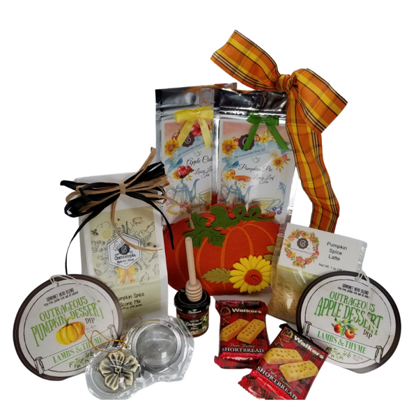 """Pumpkin Patch Gourmet Gift Basket: From Cornucopia's Epicure Shop of gourmet specialties brimming in fall flavors with pumpkin scone mix, pumpkin and apple dessert dips, Cornucopia Fall Favorite Teas and accessories tucked into a felt pumpkin handled bag to become part of their holiday decor.   Gift Includes:  An adorable felt Pumpkin gift bag with handles 6.5 x 2.6 x 5.5"""" Outrageous Apple Dip, Outrageous Pumpkin Dip, 4 oz Walker's Fingers Shortbread Cookie -2 pack, Cornucopia brand Specialty Fall Teas: 1 oz Pumpkin Pie Fruit Tea (Loose Leaf) Ingredients: pumpkin cubes, apple pieces, cinnamon pieces, ginger cubes (sugar, ginger, acidifying agent: citric acid), turmeric roots, cinnamon rods, cloves, cardamom (whole), pink pepper, natural flavoring. 1 oz. Autumn Apple Cider Fruit Tea (Loose Leaf) Ingredients: apple pieces, cinnamon rods, hibiscus blossoms, apple slices, sliced almonds, rose hip peel, elderberries, currants, whole star aniseed, natural flavoring, cinnamon pieces. 2"""" Tea Ball with fall flower charm, stainless steel, 1 oz Cornucopia's Pumpkin Spice Infused Sugar, Dickinson's Mini Honey 1 oz, Honey Spool wooden, Cornucopia's Pumpkin Spice Scone Mix makes 8 scones.  *Gourmet Food products are made in the USA and are shelf stable.  Gift comes wrapped in cellophane with hand tied plaid bow, a complimentary enclosure card with your personal message"""