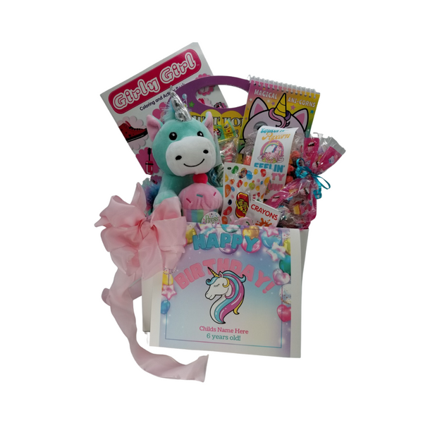 """Happy Birthday Unicorn Fun Personalized Gift Basket Box: So much fun packed into this Unicorn themed Happy Birthday gift box filled with activities and treats to learn and enjoy. Great for ages 3 and up. Comes with a musical plush Happy Birthday to you singing Unicorn. Unicorn coloring activity book, crayons, 3-kids playing card sets, Jelly Belly assorted jellybeans, Unicorn – Tutti Fruity Popcorn, carnival twist pops, Happy Birthday themed Cotton Candy flavored puffs, Festive Box of hard candies name brand mix such as Starburst, SweetTarts, Skittles and much more. Personalized options, fill out here, before placing in the cart.  Includes:  Plush Unicorn Singing Cup Cake: A seafoam green unicorn with multicolored tail and mane and a silver horn. It is holding a decorated cupcake between the front legs with a cherry on top. There is a musical """"Happy Birthday"""" IC chip inside the cupcake that sings the song 2 times. Magical Unicorn Coloring Book, with google eyes Just for Girls Coloring & Activity Set, with stickers, Girly Girl Coloring and Activity book, 6 pc Crayon set, Carnival assorted Twist Pops, 6 oz Unicorn Fruity Fun – Candy Coated Popcorn, 2 oz festive bag Cotton Candy Puffs 1 oz Jelly Belly 20 Flavor Snack Bag, 4 oz Assorted Festive Box, with curled ribbon, a mix of name brand candy such as Starburst, SweetTarts, Tootsie Roll, Jolly Rancher Skittles, Nerds, LaffyTaffy or Tootsie Fruit Chews. Mix may vary in each gift. ribbon curls, Happy Birthday Unicorn greeting card: Personalized Child's Name Child's Age Your personal message on the flip side, tucked into the front of the gift box as shown.   Gift comes wrapped in cellophane with decorative bow"""