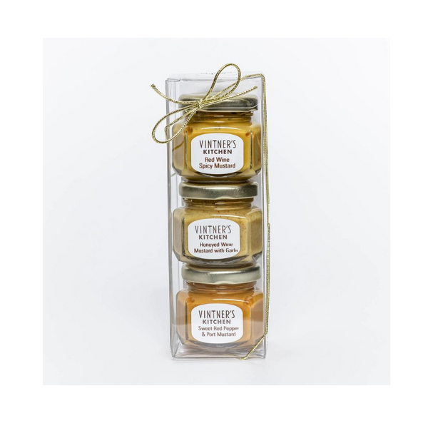 Cheese Plate Gourmet Mustard Trio: by Vintner's Kitchen LLC  The perfect cheese plate companion for your holiday cocktail parties, stocking stuffer, or hostess gift.  Mustard Trio Includes: 2 ounce jar of sweet red pepper & port mustard, red wine spicy mustard & honeyed wine mustard with garlic.  Made in United States of America