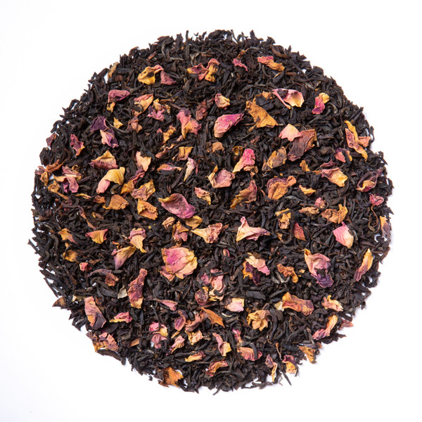 Earl Grey Rose (Loose Leaf) combines our full-bodied organic black tea with fragrant rose petals.  Ingredients: Organic black tea, organic rose petals and natural flavor.  Taste:  Earl Grey Rose (Loose Leaf) is a full-bodied black tea brew with a floral finish. Origin: Organic black tea is sourced from family tea gardens in the Darjeeling and Assam regions of India.