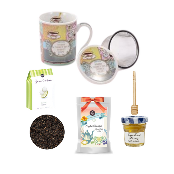 "Hope Mug, 2 oz 24 cups English Breakfast Loose Leaf Tea, and all the accessories for a charming gift for any occasion or treat yourself!   English Breakfast Loose Leaf Tea: Select broken teas from Assam and other origins form the base of our breakfast composition of controlled organic cultivation. A very high yielding tea blend which can surely compete with some of the East Frisian Blends. Milk or cream, as well as a couple of pieces of rock sugar are the perfect supplement for this blend. Ingredients: Black tea, organic cultivation Taste: It is equally powerful and aromatic and shows a dark, copper-brown cup with a full, spicy bouquet.   Includes:   Tea Mug, Infuser, mug and lid for the perfect brew, 2 oz 24 cups English Breakfast Loose Leaf Tea, 1 oz Bonne Maman honey, 1- loose leaf measuring spoon with engraved wording on the handle "" A cup of perfect tea"", 2.5 oz Janis & Melani Lime Tea Cookies small T-ball infuser.  Gift measures 9"" long by 12"" wide and 3"" tall and weighs 2 pounds. Comes shrink wrapped with a teal bow."