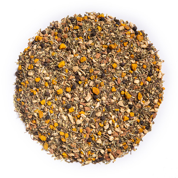 Anti Inflammation - Wellness Tea (loose Leaf) Ayurvedic Infusion aims to soothe inflammation within the mind and body.*  Ingredients: Organic Turmeric Root, Organic Ginger Root, Organic Peppermint, Organic Amalaki, Organic Rosemary, Organic Cinnamon, Organic Black Pepper, and Organic Oregano.  Taste: savory turmeric blend with a ginger finish.  Cornucopia's Tea line of organic Ayurvedic Infusions aims to promote balance between the mind, body and spirit. These adaptogenic tea blends are meant to align the inner elements and forces of the body, to the outer elements and forces of the universe.