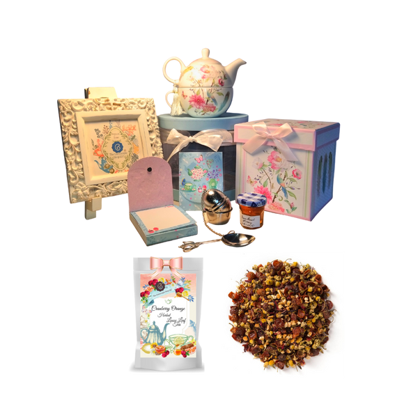 """Tea for One Gift Set- Feather & Floral, will brighten anyone's day with this beautiful tea for one gift set in its own matching print gift box with matching satin ribbon. A decorative tassel on the handle adds a lovely finishing touch. Cornucopia's Loose Leaf Tea, 1 oz honey, Tea Filter, embossed stationary purse pad in a coordinated colors and pattern. Gifting Idea: birthday gift, bridal shower, get well, thank you or treat yourself. Holds enough for a refill without leaving your comfy spot, desk or sip at beside for an evening nightcap.  Gift Set Includes:  5.8"""" Tea for One Set in gift box, stacked teapot and oversized teacup, soft white background with a feather and floral print, dishwasher safe. 1 oz of Loose-Leaf Cornucopia Tea. 7T6359 Herbal Cranberry Orange combines cranberry essence with a unique base of chamomile flowers and orange peel. Conrucopia Teas come in resealable pouches with decorative tea labels as shown in the image, along with a brewing guide. 1 oz Bonne Maman honey, Embossed Purse Pad. Each pad is 3 inches x 4 inches and has 100 coordinating patterned pages and a magnetic closure Teapot design tea measuring spoon, holds enough for one cup of brewed tea Tea Egg stainless steel Tea Filter with drip catcher by Cha Cult (Germany)"""