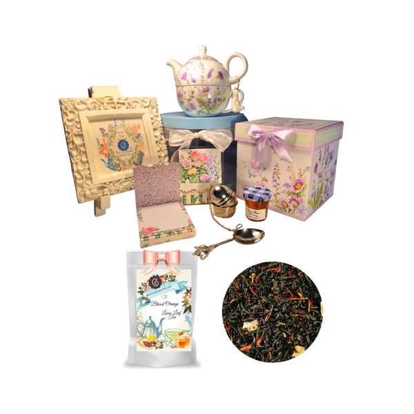 """Tea for One Gift Set- Lavender Rose, will brighten anyone's day with this beautiful tea for one gift set in its own matching print gift box with matching satin ribbon. A decorative tassel on the handle adds a lovely finishing touch. Cornucopia's Loose Leaf Tea, 1 oz honey, Tea Filter, embossed stationary purse pad in a coordinated colors and pattern. Gifting Idea: birthday gift, bridal shower, get well, thank you or treat yourself. Holds enough for a refill without leaving your comfy spot, desk or sip at beside for an evening nightcap.  Gift Set Includes:  5.8"""" Tea for One Set in gift box, stacked teapot and oversized teacup, soft white background with a lavender and rose floral print, dishwasher safe. 1 oz of Loose-Leaf Cornucopia Tea. 8T22538 Blood Orange Black tea (92 %), orange peel, natural blood orange flavoring, safflower Conrucopia Teas come in resealable pouches with decorative tea labels as shown in the image, along with a recipe and brewing guide. 1 oz Bonne Maman honey, Embossed Purse Pad Each, pad is 3 inches x 4 inches and has 100 coordinating patterned pages and a magnetic closure Teapot design Tea spoon Tea Egg stainless steal Tea Filter with drip catcher by Cha Cult (Germany)  Teas and Teaware are shipped together.If purchasing as a gift your personal message is included on the pamphlet."""