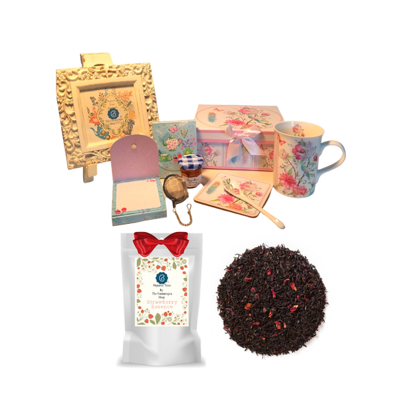 """Tea for Me Gift Set- Dragonfly will brighten anyone's day in its own matching print gift box with matching satin ribbon. A decorative tassel on the handle adds a lovely finishing touch. The matching coaster is perfect for any spot you leave your cup and the porcelian teaspoon makes tea time all the more special, small tea ball, Conrucopia's Loose Leaf Tea, Bonne Maman Honey and stationary Purse Memo Pad complete this gift set. Gifting Idea: birthday gift, bridal shower, get well, office gift, or thank you.  Gift Includes:  4.9"""" Porcelain Mug in gift box, matching Coaster, Teaspoon,Soft white background with a dragonflyfloral print, dishwasher safe. 1oz of Loose-Leaf Tea Cornucopia Tea. WT28318 Black tea blend, flavored Mango/Pomegranate with Dragon Fruit: This summery drink is decorated with bright fruit, like the purple dragon fruit and yellow-orange mango. This mild black tea has juicy, sun-ripened mango and tangy pomegranate. Enjoy this fruit sensation all year round. Cornucopia Teas come in resealable pouches with decorative tea labels as shown in the image, along with a recipe and brewing guide. (1) Cha Cult Tea Ball, small (Germany) for loose leaf tea, 1oz Bonne Maman honey, (1) Embossed Purse Pad Each, pad is 3 inches x 4 inches and has 100 coordinating patterned pages and a magnetic closure."""