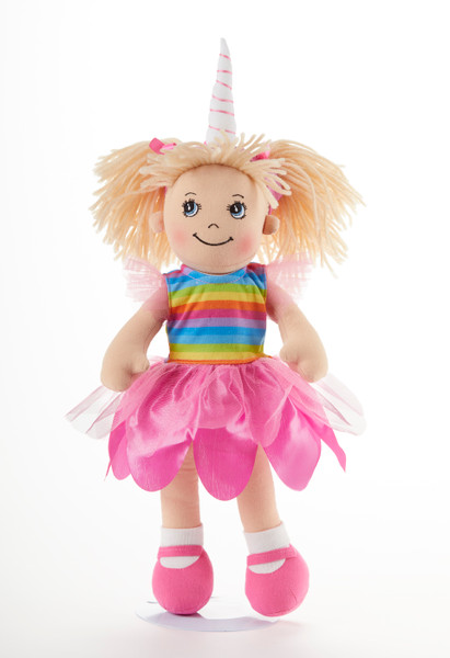 """14"""" Apple Dumplin Unicorn Doll: This little lady is in Unicorn heaven in her pretty pink tulip skirt, rainbow top and unicorn hat!  She's just waiting to be invited to Tea!  Part of the Cornucopia's Toy Tea Party Collection  Includes:  1 Apple Dumplin Unicorn Doll"""