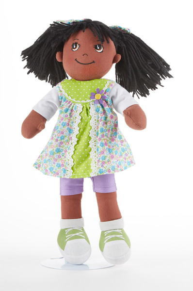 """14"""" Apple Dumplin Summer Flower Doll: She's all dressed up in her prettiest play dress of pastel floral print with lime green accents, purple shorts and lime green shoes. A bit of sunshine sure to make any little girlt happy, and best of all she's so ready to come to tea!  Includes:  1 - 14"""" Apple Dumplin Doll"""