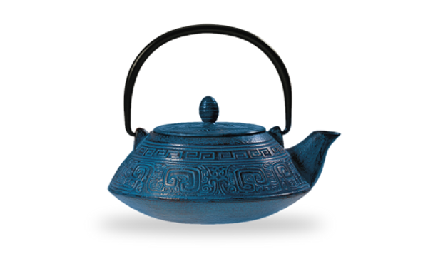 """Iron teapot """"Oshima"""", blue 3 cups / 27.03 fl.oz.  Made of high quality materials and crafted by artisans in traditional ways for centuries with beautiful textured patterns and enameled inside. Cast Iron teapots are to be used just as you would a porcelain teapot by boiling water and pouring into your cast iron teapot. Although these are made of cast iron, they are not a tea kettle which is made to withstand the heat of the stove top.  Blue with relief, enameled inside, stainless stell strainer  To clean, rinse with warm water and hand dry. Not dishwasher safe. Not for stove top or microwave use."""