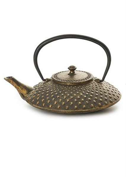 """Teapot """"Kazuha"""" 1 cup iron, black/gold with stainless steel strainer  Made of high quality materials and crafted by artisans in traditional ways for centuries with beautiful textured patterns and enameled inside. Cast Iron teapots are to be used just as you would a porcelain teapot by boiling water and pouring into your cast iron teapot. Although these are made of cast iron, they are not a tea kettle which is made to withstand the high heat of the stove top.  Black/gold with relief, enameled inside, stainless stell strainer  To clean, rinse with warm water and hand dry. Not dishwasher safe. Not for stove top or microwave use."""