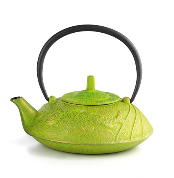 "Iron Teapot ""Prosperity Koi"", green 3 cups / 23.67 fl. oz. with Stainless steel strainer  Made of high quality materials and crafted by artisans in traditional ways for centuries with beautiful textured patterns and enameled inside. Cast Iron teapots are to be used just as you would a porcelain teapot by boiling water and pouring into your cast iron teapot.  Although these are made of cast iron, they are not a tea kettle which is made to withstand the high heat of the stove top.    green with relief of ""Prosperity Koi"", enameled inside, stainless stell strainer  To clean, rinse with warm water and hand dry.  Not dishwasher safe.  Not for stove top or microwave use."