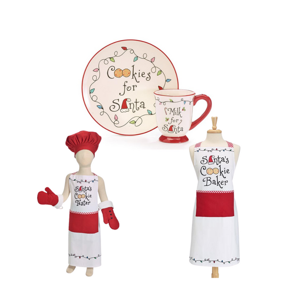 """White screen printed """"Santa's Cookie Tester"""" child's apron set. Red hat has Velcro for adjusting. Red mittens have white cuff and black buttons.Apron: 25""""H X 18""""W, Mittens: 8 1/2""""H X 5""""W; 8"""" circumference, Chef's hat has adjustable circumference from 8 1/2"""" to 10"""""""