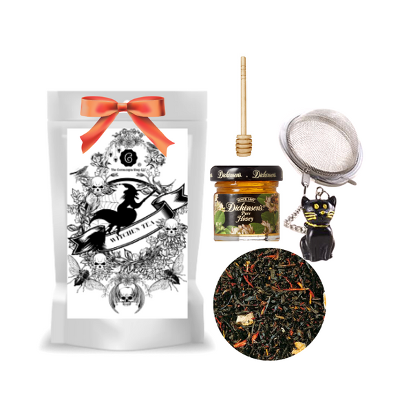 """Black Witch Tea (Loose Leaf) Black Cat Tea Ball gift set  Limited Edition by The Cornucopia's Tea Shop. Seasonal Halloween Label is a fun way to enjoy amild China-Ceylon black tea blend, and a Halloween Black Cat Tea ball filter, adds more fun for the making. Set this Halloween Tea Package on your kitchen counter with it's Black Cat tea ball, for an added seasonal flair.   Gift includes:  2 oz. Black Witch Tea ( Loose Leaf ) 1- 2"""" Tea Ball with Black Cat, stainless steel Dickinson's Mini Honey Honey Spool  Cornucopia's Black Witch tea mild China-Ceylon black tea blend creation has been ennobled by the natural flavor of a sweet, firm, fresh and tangy fruit from Italy. The typical red color of the firm flesh of sun-ripened blood oranges, which results from frosty nights shortly before harvesting and yellow safflower fill your cup with fall colors.  Ingredients: Black tea (92%), orange peel, natural blood orange flavoring, safflower Taste: refreshing, tangy, fruity drink, no Witch could ever brew a better cup!  Origin: Organic black tea is sourced from family tea gardens in China  Gift comes in a cellophane gift bag with black raffia hand tied bow and gift card with brewing guide, 10% off next tea purchase, and your personalized gift message."""