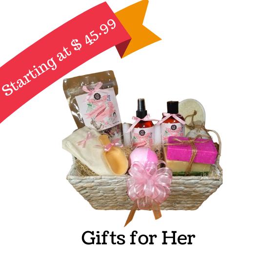 Handmade soaps, lavender, Rose, Eucalyptus, green tea, White Tea spa gift sets, high quality spa gift baskets for ladies, Bath salts, essential oils, bath bomb gifts