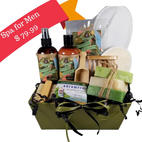 luxury mens spa gift basket, handmade soaps gift basket for men, eucalyptus mens spa gift basket, Green Tea citurs mens spa gift basket, auromere shampoo bar gift baskets, bathsalts for men gift basket
