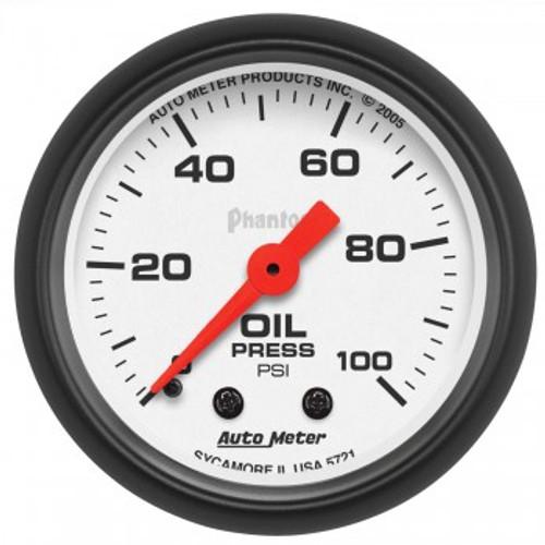 "Autometer 2-1/16"" Oil Pressure 0-100 PSI Mechanical Phantom Gauge"