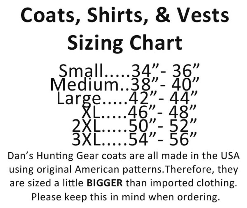 Sizing chart for Sportsman's Choice Coat by Dan's Hunting Gear® | Briarproof Super store