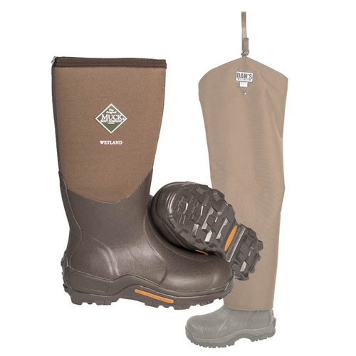 Muck Wetland Boot with Snake Protector Chaps by Dan's Hunting Gear