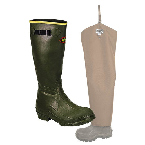 Insulated LaCrosse Burly Classic Knee Boot with Snake Protector Chaps by Dan's Hunting Gear