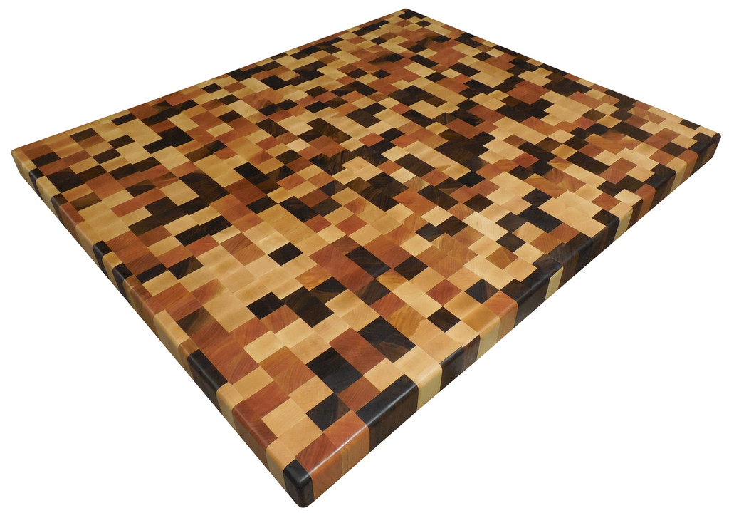 End Grain Brickwork Butcher Block Countertop with Walnut, Cherry and Maple