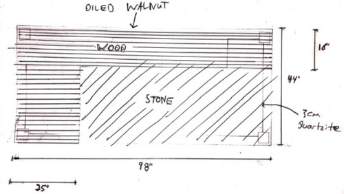 Custom Listing - Jonathan Karuna - L-Shaped Quartzite-Surrounding Island