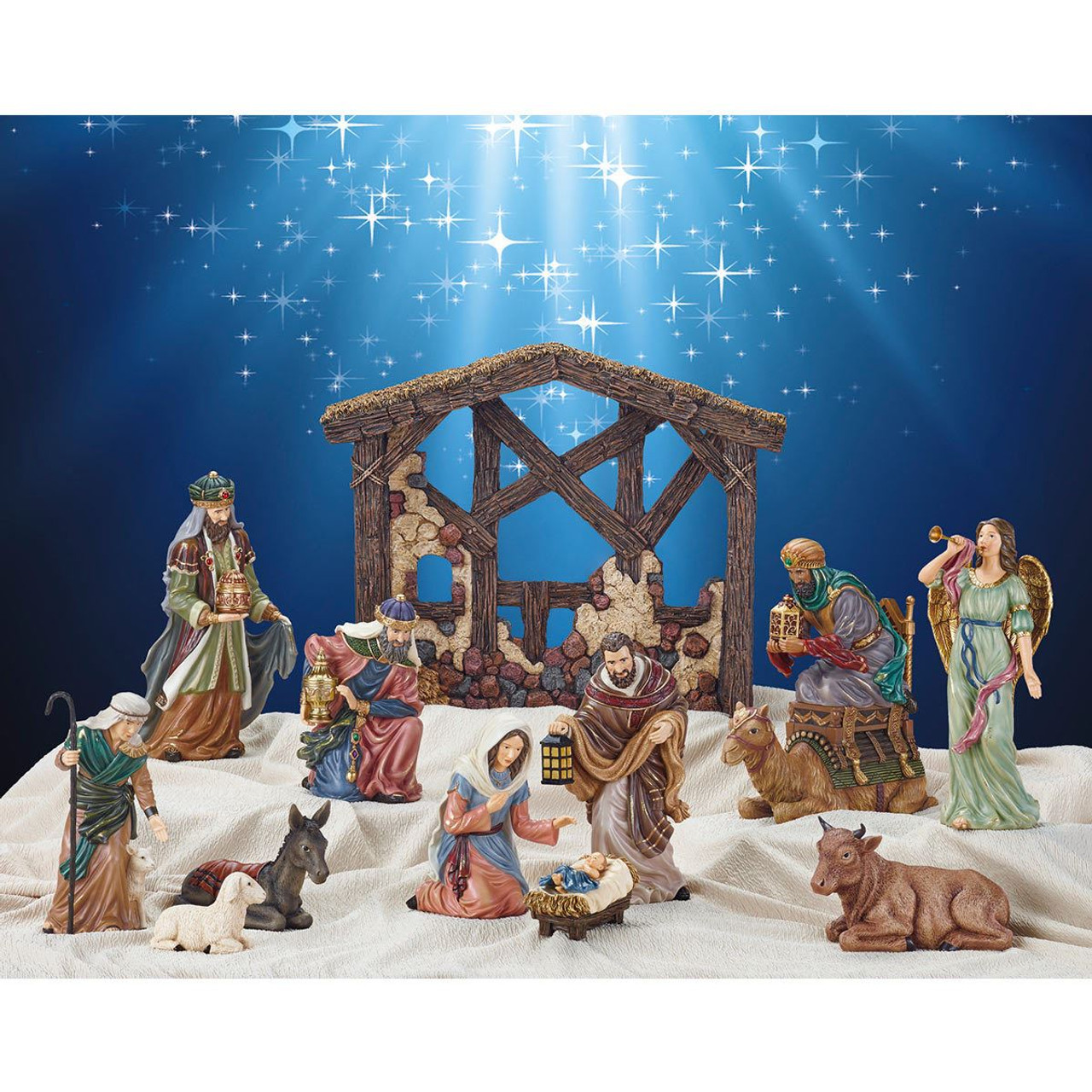 Christmas Nativity.Hand Painted 13 Piece Tabletop Christmas Nativity Set Story Model Display Figures