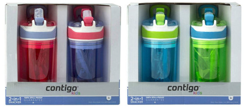 2x Contigo S//Steel Chill Cold Shaker Bottles 24 oz Vacuum Insulated Travel Flask